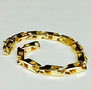 14k Solid Yellow Gold Heavy Handmade Link Mens Chain Bracelet 8.5 28 Grms 5.5mm