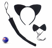 Lady Girl Kids Cat Kitty Costume Ear Tail Bowtie Party Hair Head Band 3 Set