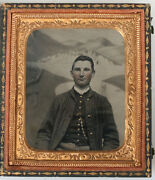 Civil War Tintype Soldier Tinted And Gilded.painted Background.1/6 Plate.