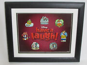 Disney Have A Laugh Framed Pins Goofy Donald Mickey Pluto Seal Limited Edition