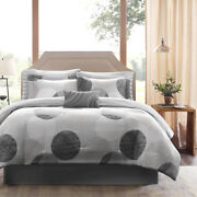 New Modern Chic Grey Black Circle Casual Geometric Soft Comforter Set And Sheets