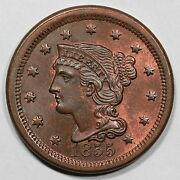 1855 N-4a Eds Upright 55 Braided Hair Large Cent Coin 1c