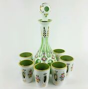Antique Moser Glass Decanter Set White Overlay Cut To Green