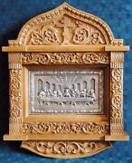 Large Orthodox Silver-plated Icon Last Supper In The Carved Oak-wood Kiot