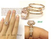7x9mm Oval Morganite Engagement Diamond Ring Solid 14k Gold With 2 Wedding Bands