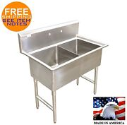 Pot Sink 2 Compartment Stainless Nsf Heavy Duty 16ga No Drainboars Made In Usa