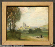 Shepherdess In Medieval Landscape Pastel Painting Manner Of Gustave Courbet