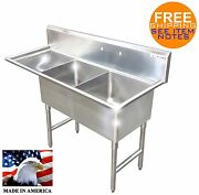 2 Compartment Sink Left Drainboard Stainless S. Nsf Heavy Duty 16ga Made In Usa