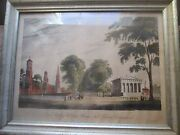 Yale College And State House New Haven Framed Print 19th Cent. Original Print