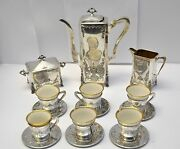 A/q Barbour Silver Co. Hartford Ct 15 Pc Sterling Victorian Repousse Coffee Set