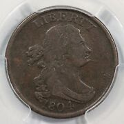 1804 C-7 R-4 Pcgs F15 Spiked Chin Draped Bust Half Cent Coin 1/2c