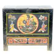 Antique Chinese Mongolian 37 Wide Cabinet Chest Trunk Hand Painted Designs
