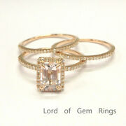 Solid 14k Rose Gold 5x7mm Emerald Cut Morganite Engagement Ring And Diamonds Bands