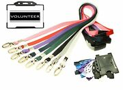 Black Volunteer Identity Card With Lanyard + Id Card Holder - Choice Of Colour.