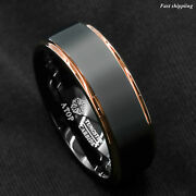 Tungsten Carbide Ring Rose Gold Black Brushed Wedding Band Ring Menand039s Jewelry