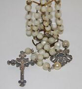 Ro064 Rosary. Silver Filigree And Mother-of-pearl. 66.5 Cm. Spain. End 19th C.