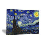 Canvas Wall Art Print Starry Night Van Gogh Painting Repro Blue Picture Framed