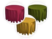 15 Packs 120 Inch Round Satin Tablecloth Wedding 25 Color 5' Ft Table Usa Sale