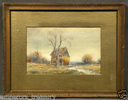 Early 20th Century Watercolor Landscape With Thatched House Signed F. L. Winter