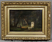 19th Century Continental School Oil Painting Woman Fountain Dark Nature Trail