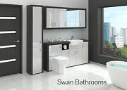 Hacienda / Light Grey Gloss Bathroom Fitted Furniture With Wall Units 2200mm