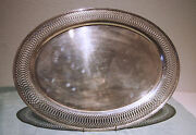 Oval Tray Large And Heavy Silver Plated Fine Open Work Old By Reed And Barton L 23