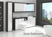 Hacienda / White Gloss Bathroom Fitted Furniture With Wall Units 2500mm