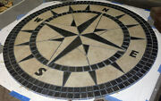 48 Handcrafted Porcelain Tile Classic Compass Rose Mosaic Medallion Made In Usa