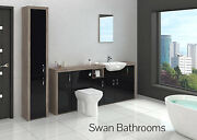 Driftwood / Black Gloss Bathroom Fitted Furniture With Tall Unit 2500mm