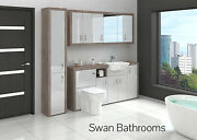 Driftwood / Light Grey Gloss Bathroom Fitted Furniture With Wall Units 2200mm