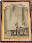 Ambrotype Young Girl With Doll. Half Plate Center Opening Full Case
