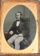 Ambrotype Man, Exquisite Tinting. Strong Image. 1/2 Plate, Full Leather Case.
