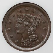 1852 N-3 Ngc Ms 63 Bn Braided Hair Large Cent Coin 1c