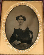 Ambrotype Woman. Ambrotype Pats Sohersey Mat Stamp. 1/2 Plate Full Case.