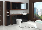 Tobacco Walnut / Black Gloss Bathroom Fitted Furniture With Wall Units 2500mm