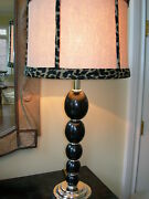 Maitland Smith Black Spheres Silver Plated Brass Table Lamp Linen Leopard Shade