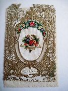 Vintage 1800's Victorian Antique Valentine -gold Gilded Paper Lace And Flower Arc