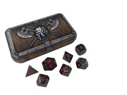 Dwarven Chest With Smoke And Fire |shiny Black Color With Red Numbers Metal Dice