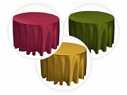 12 Packs 132 Inch Round Satin Tablecloth Wedding 25 Color 5' Ft Table Usa Sale