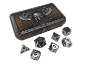 Dwarven Chest With Chrome / Silver Color With Black Numbering Metal Dice Set