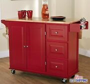 Large Red Kitchen Cart Island Rolling Storage Cabinet Wood Portable Spice Rack