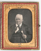Daguerreotype Portly Man With Walking Stick. 1/4 Plate Full Push Button Case.