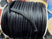 Anchor Rope Dock Line 5/8 X 400and039 Braided Black Made In Usa
