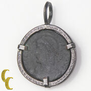 Ancient Roman Coin In Silver Antiqued Bezel Pendant 3.6grams
