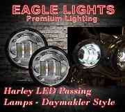 Eagle Lights 4 1/2 Round Chrome Led Passing Lights Pair Fits Harley And Others