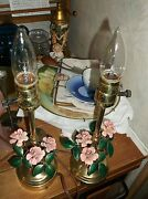 French Polished Brass Lamps With Enamel On Copper Flowers 1940s
