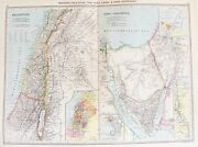 Old Antique Map Palestine Middle East Sinai Suez Canal C1906 By Philip And Son