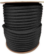 Anchor Rope Dock Line 3/8 X 350and039 Double Braided 100 Nylon Black Made In Usa