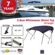 3 Bow Bimini Top Boat Cover 59 - 67 Width 4ft Long Blue With Support Poles