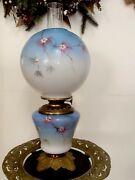 Antique 1800,s Signed Lillian L Lloyd Gone With The Wind Oil Lamp M B Brass Co.